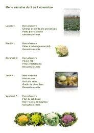 Menu semaine du 16 au 20 septembre - Blanche de Castille