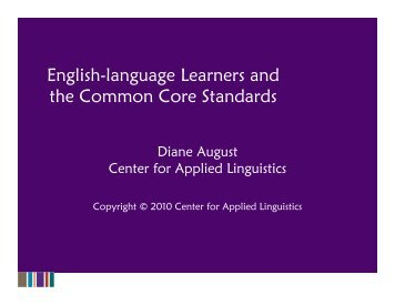 English-language Learners and the Common Core Standards