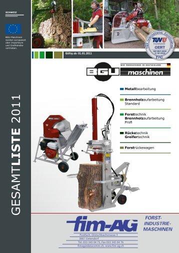 Forsttechnik / Brennholzaufarbeitung - Fim AG