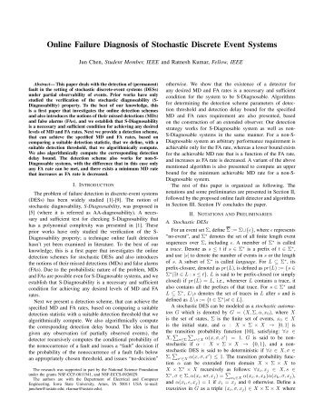 Online Failure Diagnosis of Stochastic Discrete Event Systems