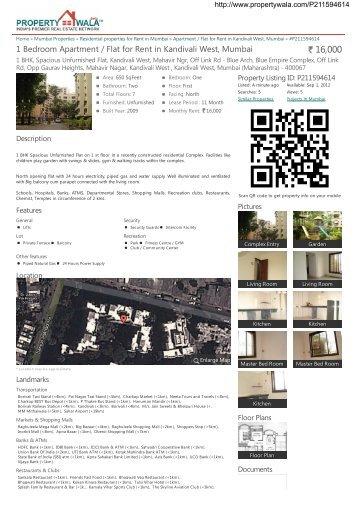 1 Bedroom Apartment / Flat for Rent in Kandivali West, Mumbai