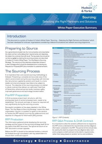 Introduction Preparing to Source The Sourcing Process