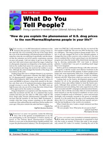 What Do You Tell People? - Contract Pharma