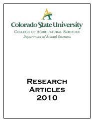2010 Research Reports - The Department of Animal Sciences ...