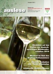 auslese - Ausgabe 1|2011 - Weinbruderschaft Franken