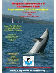 Dolphin Underwater & Adventure Club September 2011 Newsletter
