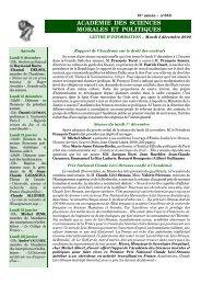 Mardi 2 décembre 2008 - Académie des sciences morales et ...