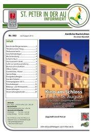 Das aktuelle Infoblatt Nr. 302 Juli/August 2013 - in St. Peter in der Au