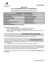 Service de santé MISE À JOUR DE LA FICHE D ... - Collège Boréal