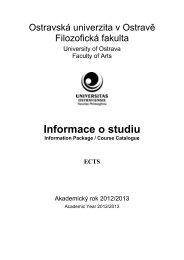 Informace o studiu na Filozofické fakultě OU v ... - Filozofická fakulta
