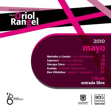 6 13 20 21 27 entrada libre - Orquesta Filarmónica de Bogotá