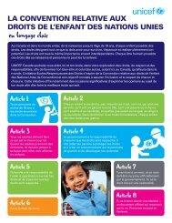 La Convention relative aux droits de l'enfant des ... - UNICEF Canada