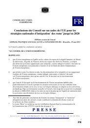 Conclusions du Conseil sur un cadre de l'UE pour les ... - Europa