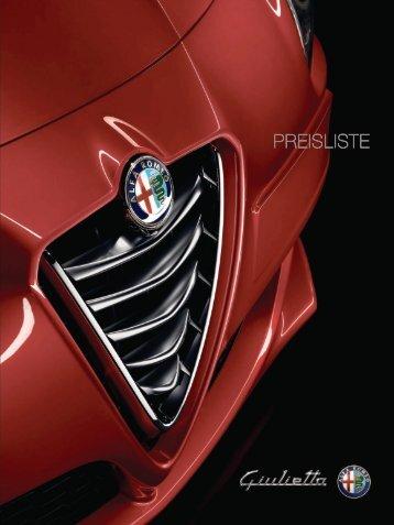 PREISLISTE Alfa Romeo Giulietta
