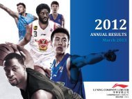 2012 Annual Results Corporate Presentation - Li Ning