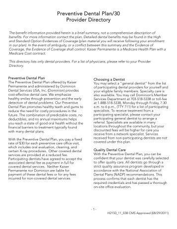 Kaiser Permanente Dental Plan Providers - Dominion Dental ...