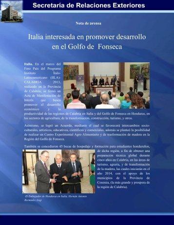 Italia interesada en promover desarrollo en el Golfo de Fonseca