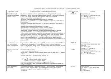 lista obiectelor achiziţionate şi recepţionate în cadrul - INFRABIM