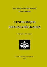 etnologijos specialybės kalba - VDU Kompiuterinės lingvistikos ...