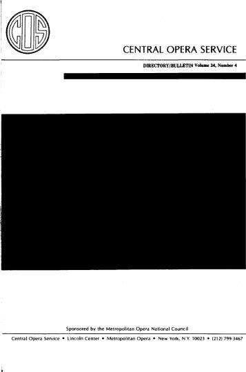 Central Opera Service Bulletin - Directory, 1984 - CPANDA