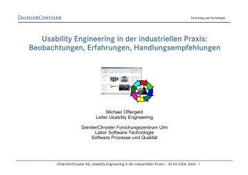 Usability Engineering in der industriellen Praxis: Beobachtungen ...