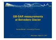 GB-SAR measurements at Belvedere Glacier