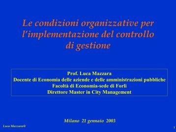 Le condizioni organizzative per l'implementazione ... - RisorseComuni