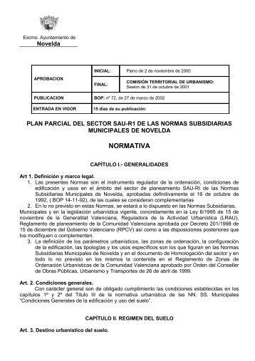 PLAN PARCIAL DEL SECTOR SAU-R1 DE LAS NORMAS ...