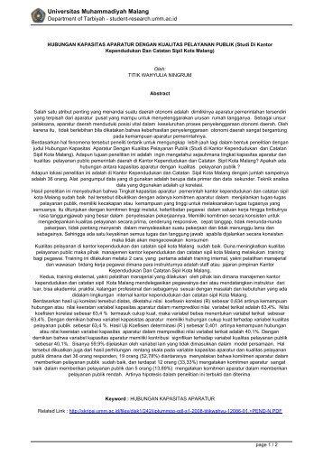 Studi Di Kantor Kependudukan Dan Catatan Sipil Kota Malang