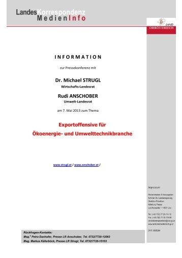 I N F O R M A T I O N Dr. Michael STRUGL Rudi ANSCHOBER