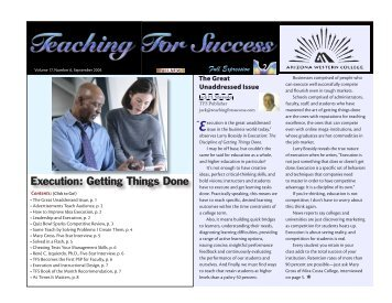 Execution: Getting Things Done - Arizona Western College