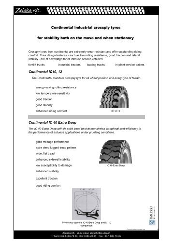 Continental industrial Diagonal tyre description - Zsolaka Kft