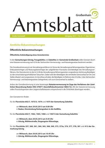 Amtliche Bekanntmachungen - Stadt Grossenhain
