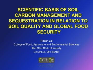 Scientific basis of soil carbon management and sequestration...