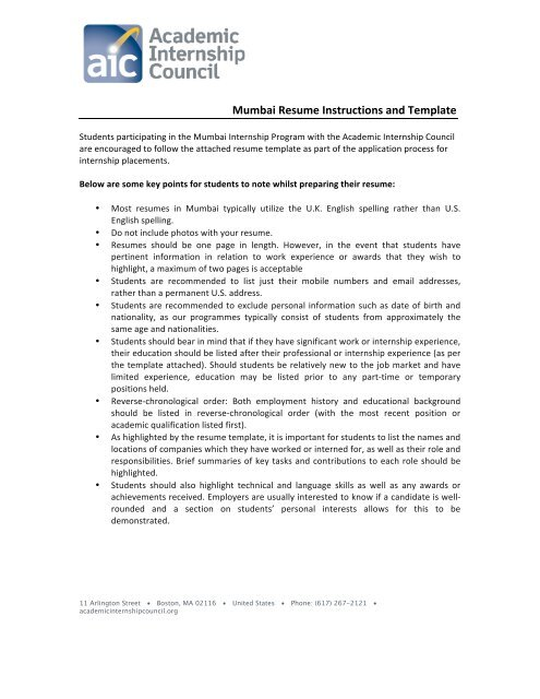 Mumbai Resume Instructions And Template