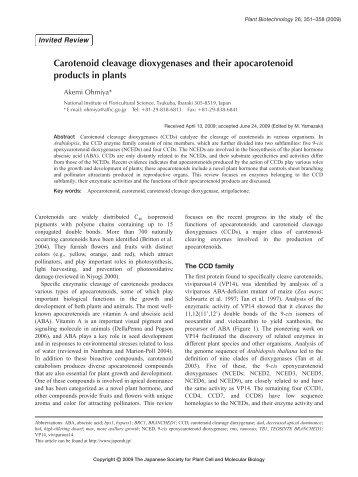 Carotenoid cleavage dioxygenases and their ... - Wdc-jp.biz