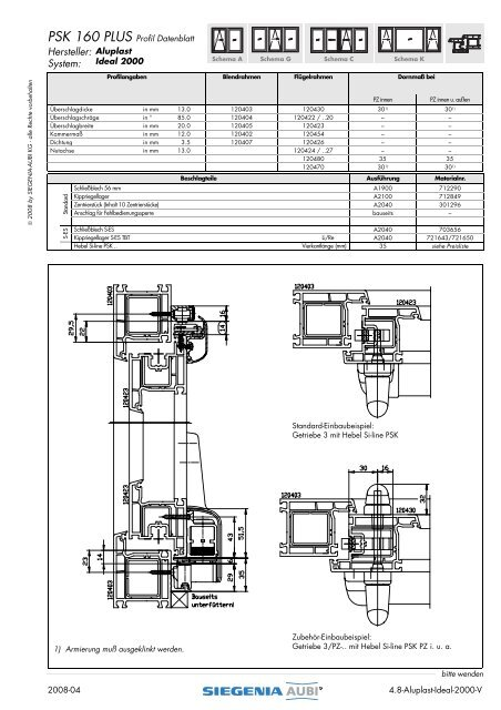 PSK 160 PLUS Profil Datenblatt