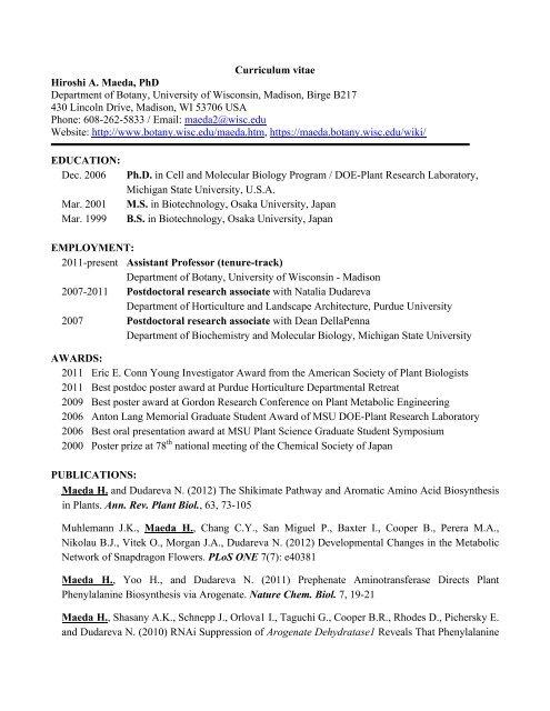 Hiroshi Maeda CV 120806 Web - Department of Botany