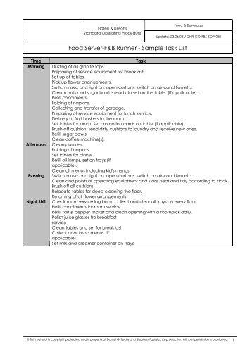 Food Server-F&B Runner - Sample Task List - Dr. Daniel G. Fuchs