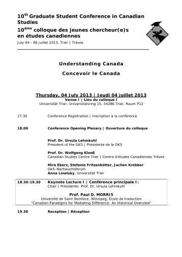 10 - Nachwuchsforum der Gesellschaft für Kanada-Studien eV