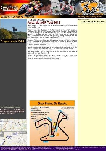 Jerez MotoGP Test 2013 - Pole Position Travel