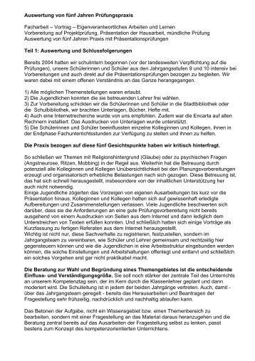 Auswertung von fünf Jahren Prüfungspraxis Facharbeit – Vortrag ...