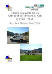 Indagine sulla qualità dell'aria nel comune di Ponte nelle Alpi - Arpav