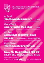 So., 2. Dezember 2007 - Städtischer Konzertchor Winfridia Fulda