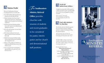 Ministry Referral - Southeastern Baptist Theological Seminary