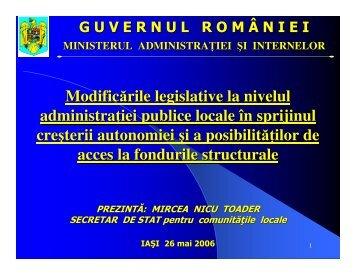Modificarile legislative la nivelul administratiei publice si locale in ...