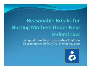 Reasonable Breaks for Nursing Mothers - Montana Worksite Health ...