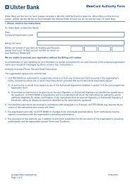 OneCard Authority Form - Ulster Bank