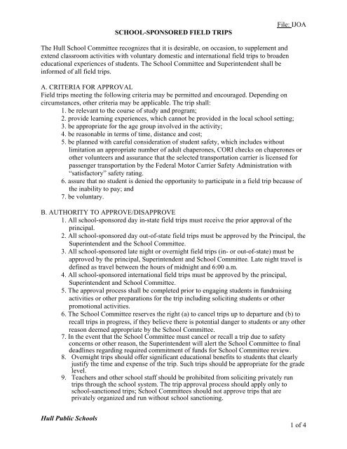 Field Trip Policy and Permission Form - Town of Hull