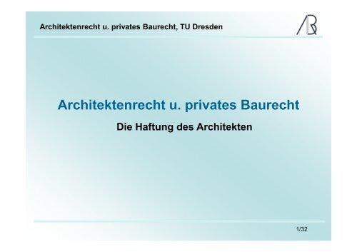 Haftung des Architekten - Prof-rauch-tu-dresden.de